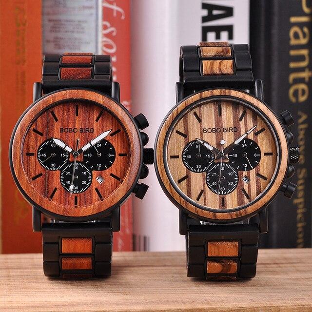 BOBO oiseau bois montres hommes chronomètre relojes hombre montrer Date montre-bracelet en bois montres hommes dans une boîte cadeau