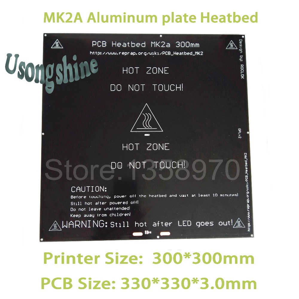 все цены на 1pcs MK2A 300*300mm (3.0mm) RepRap RAMPS 1.4 PCB Aluminum Heatbed Hot Plate For Prusa & Mendel For 3D Printer on Linear guide онлайн
