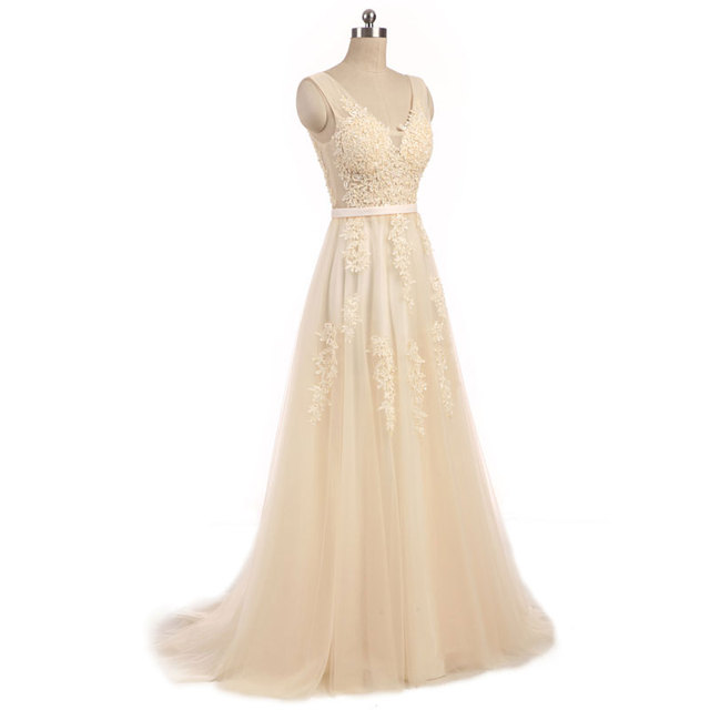 New arrival elegant champagne  wedding dress Vestido de Festa appliques zipper A-line dress sweep train bow dress lace style 3