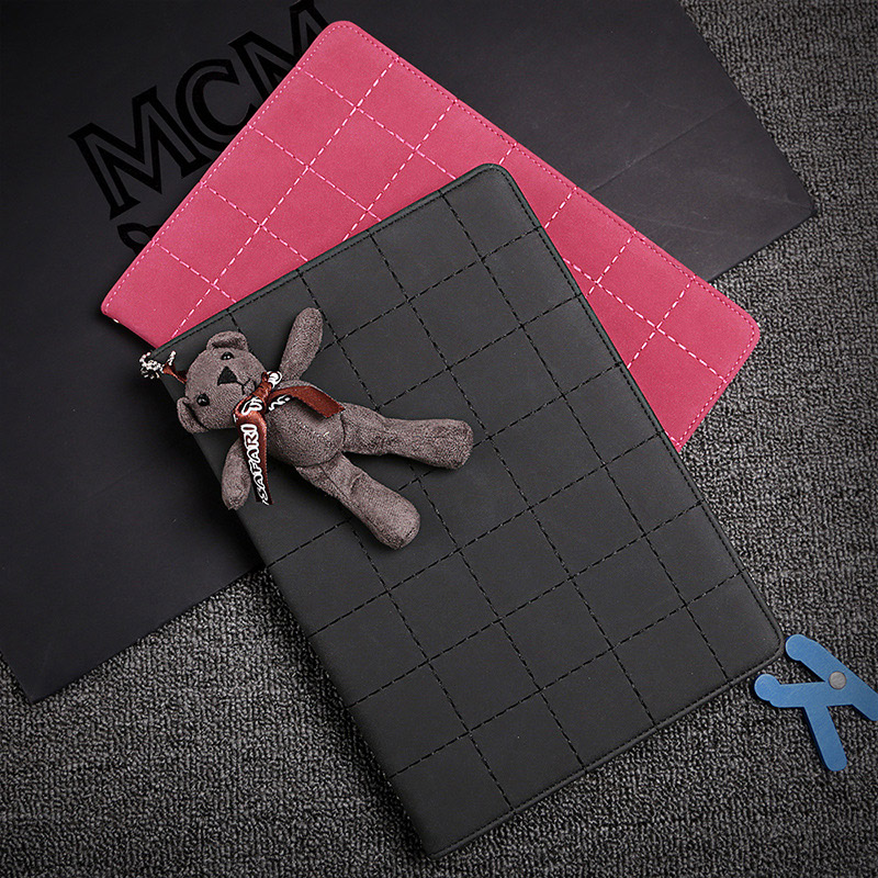 for iPad 2 3 4 Case Smart PU Leather Sleeve for iPad 2 iPad4 Cute Bear Strap Lattice Style Flip Stand Tablet Cover Case