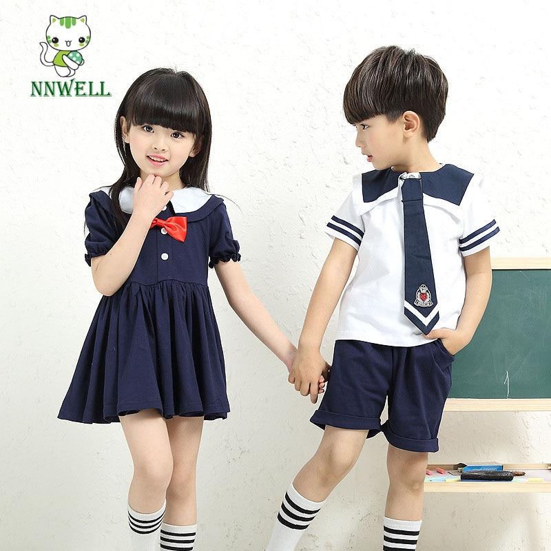 2017 new kindergarten pupils students summer uniforms suit children summer dress Boys and girls fashion clothing - Japanese Kindergarten Uniform