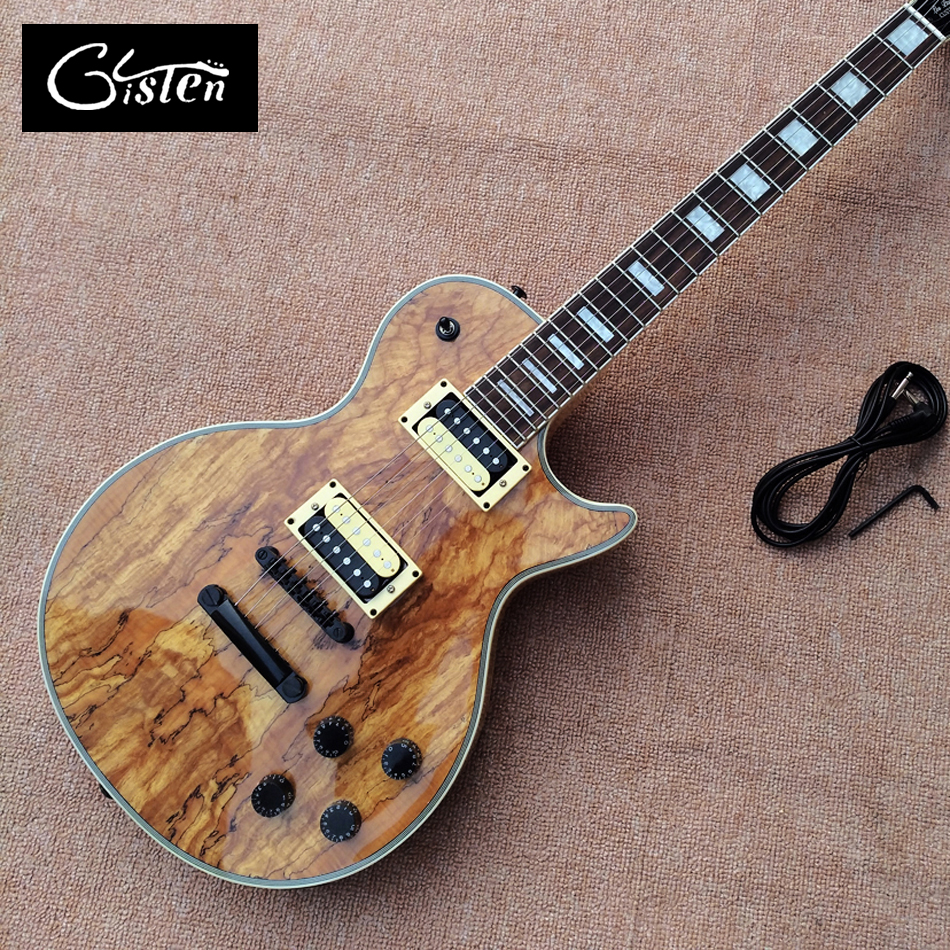 New high quality Custom LP electric guitar, Decaying wood top rosewood fingerboard Black hardware Electric guitar, free shipping human new arrival 7 strings electric guitar matte black clouds striped body and head black hardware free shipping