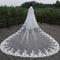 4Meter Ivory / white 2019 bridal veils edge lace tulle Bling Seuqins Cathedral Veil wedding long Wedding Voice wedding accessori
