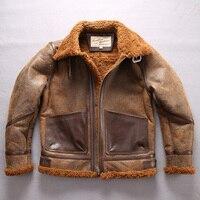 Factory 2018 New Men Shearling Flight Jacket Fashion Leather Pocket Wool Liner Sheepskin Jacket Cold Winter Pilot Russia Coats