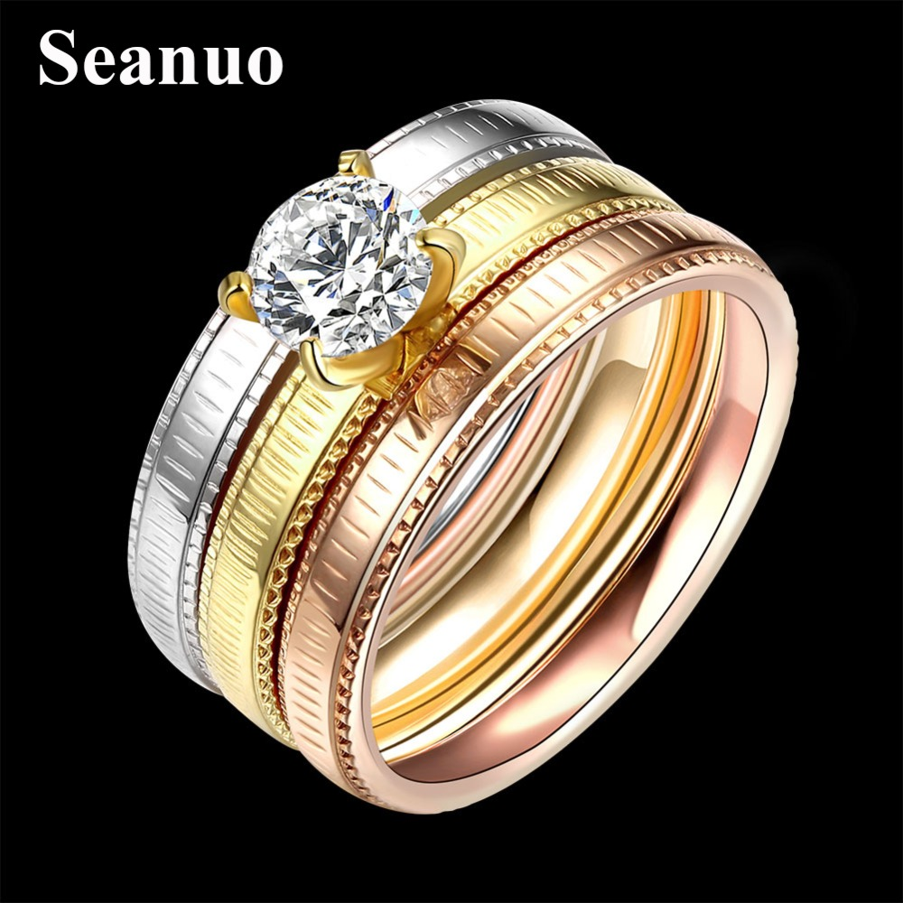 seanuo 3 pcsset luxury 3 round cubic zircon paved engagement ring for women rose gold color steel crystal wedding ring jewelrys - Rose Gold Wedding Ring Set