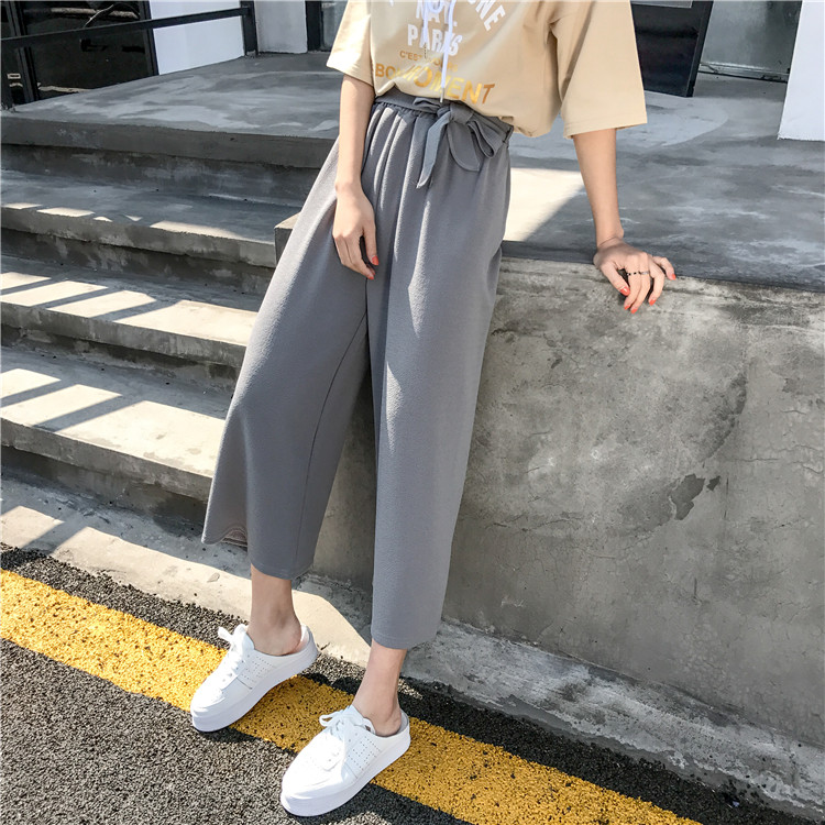 19 Women Casual Loose Wide Leg Pant Womens Elegant Fashion Preppy Style Trousers Female Pure Color Females New Palazzo Pants 37