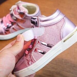 Image 4 - Kids 2018 Kinderen Meisje Merk Glitter High Top Sneaker Meisje Leuke Kitty Fashion Trainer Peuter Pu Leer Pailletten Schoen