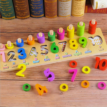 Montessori Educational Math Toys Rainbow Rings Preschool Number Shape Counting Stacking Board Teaching Aids Wooden Toys