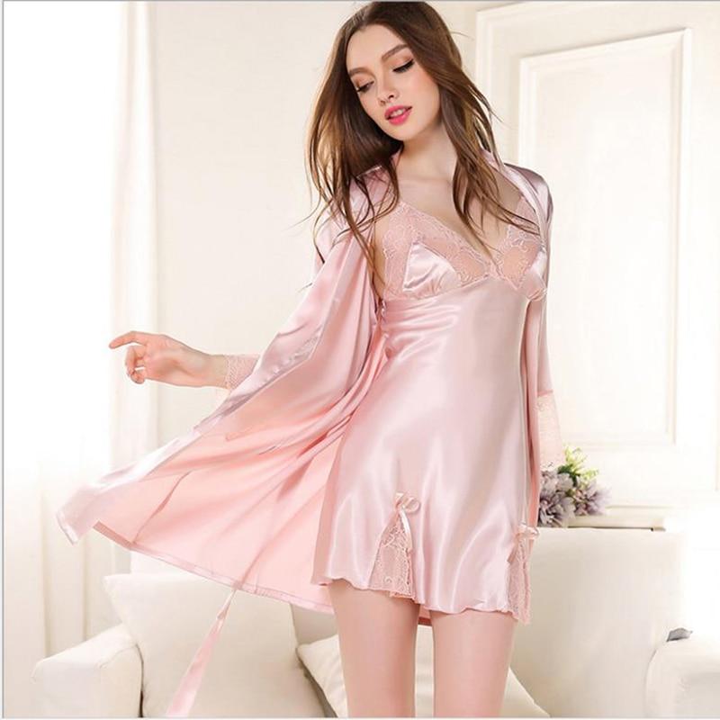Women sexy lingerie satin kimono sleepwear lace bath robe babydoll bow belt nightwear drfoytg