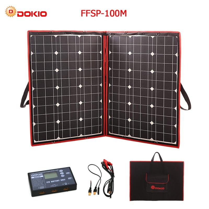 Dokio 100W 50Wx2Pcs 18V Flexible Black Solar Panels China Foldable 12V Controller 110 Watt Panels Solar