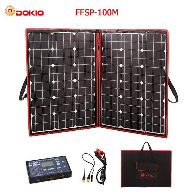 Dokio 100W 110W (55Wx2Pcs) 18V Flexible Black Solar Panels China Foldable + 12V Controller 110 Watt Panels Solar For Car Battery