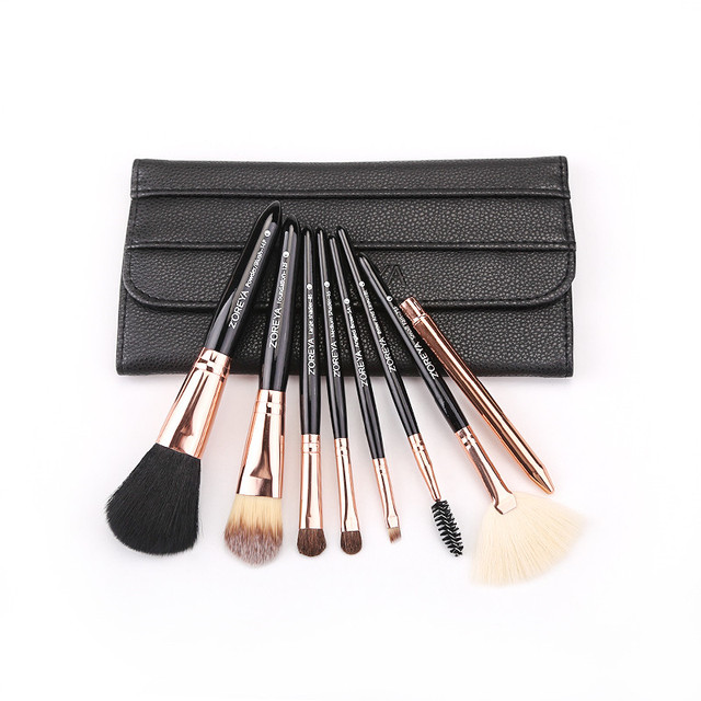 Zoreya Brand 8pcs High Quality Synthetic Fibers Makeup Brush Set Powder Foundation Large Eye Shadow Angled Brow Brushes 3 Colors 4