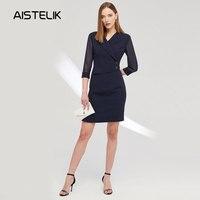 Новое Женское Платье на рабочем месте высокого качества с v образным вырезом и рукавами из тюля