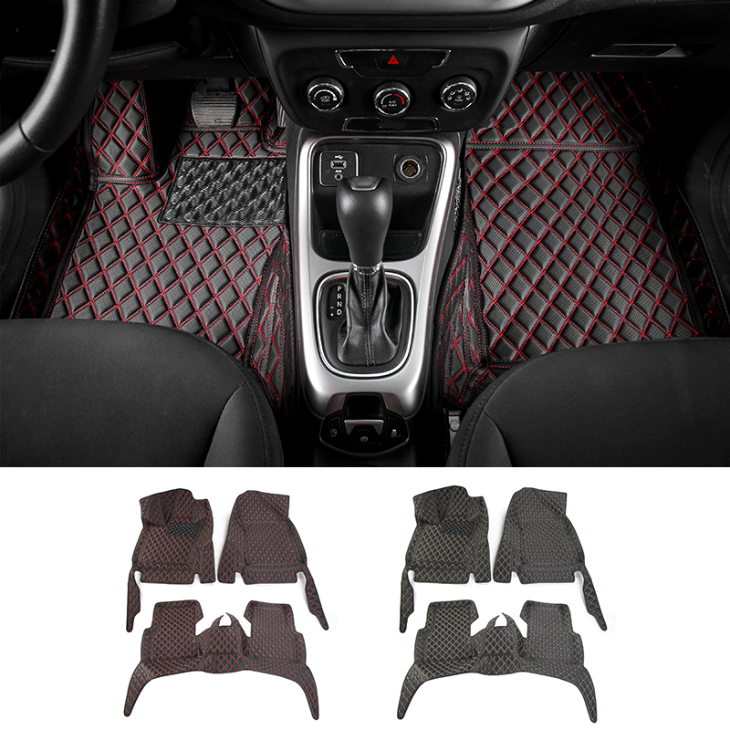 mopai car interior accessories leather floor mats carpets foot pads kit for jeep compass 2017. Black Bedroom Furniture Sets. Home Design Ideas