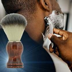 Мужская поролоновая соскабливающая деревянная ручка нейлоновая ручка Серебряная головка серебряное кольцо щетка для бороды щетка для