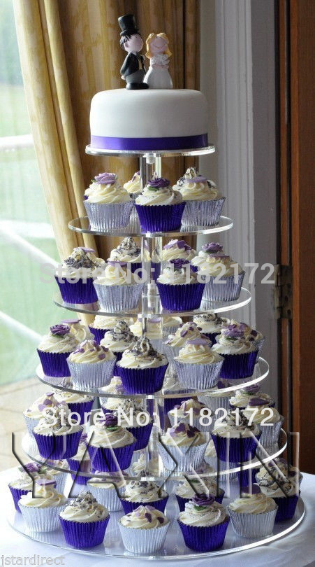 6 Tier Round Beautiful HIgh Quality Acrylic wedding Cupcake Stand /stand for wedding cake image