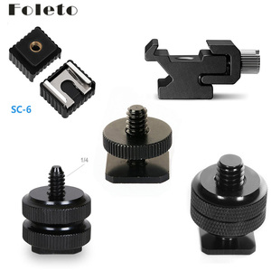 "Foleto Camera Flash Light Hot Shoe Flash Stand Adapter With 1/4""-20 3/8"" Tripod Screw Mount for canon nikon camera Speedlite(China)"