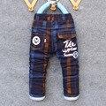 2017 inverno primavera xadrez calças meninos crianças dos desenhos animados boy quente grossa crianças calça casual calças de camuflagem de algodão macio do bebê calças de brim