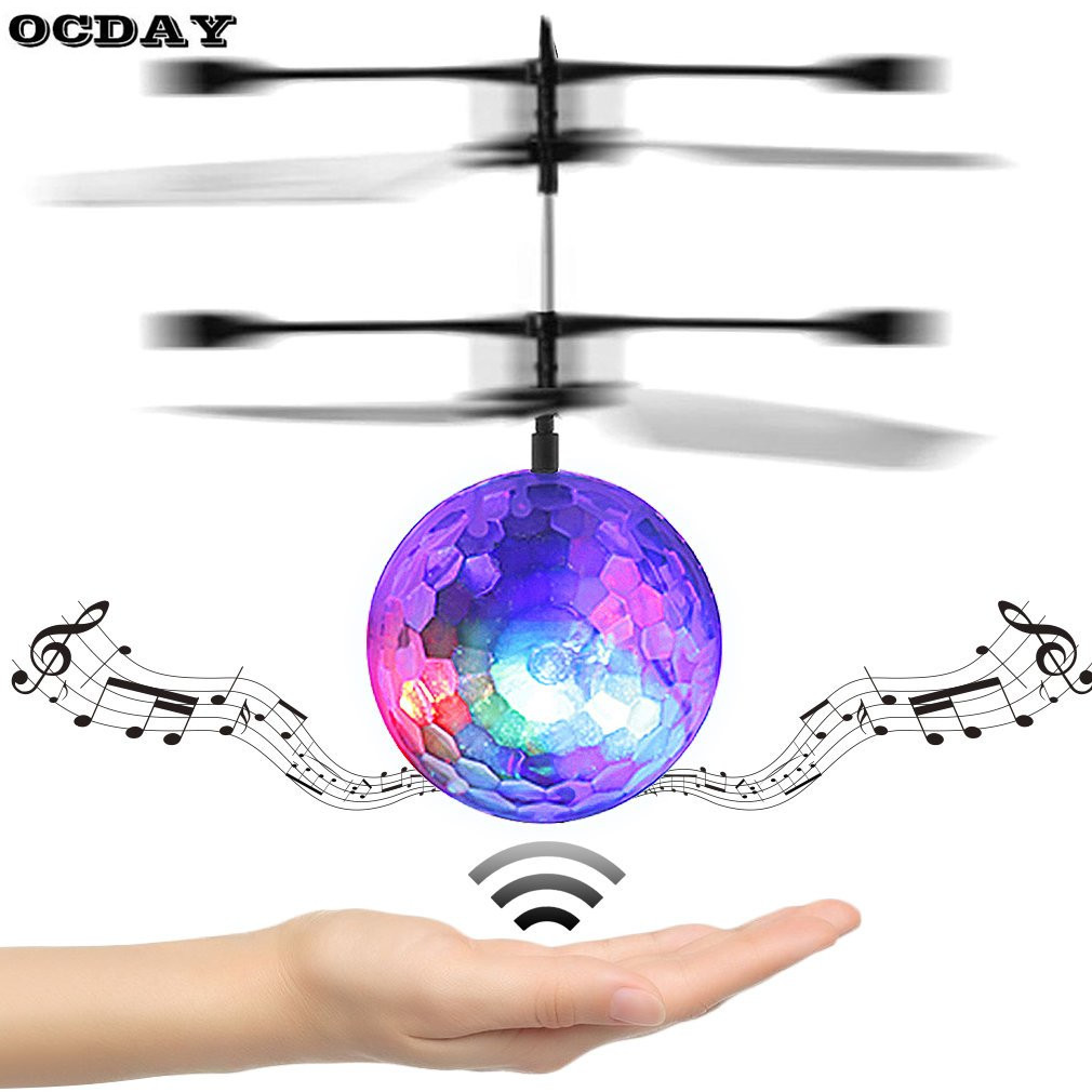 Kids Flying Clear Ball RC LED Lighting Play Ball Toy For Kids Infrared Induction Outdoor Helicopter Ball Built-in Music Shinning