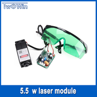 5500mw Laser Module 450NM Focusing Blue Laser Head Laser Engraving and Cutting TTL Module 5.5w Laser Tube+Free goggles