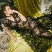 Nightgown Summer Night Dress Women Classical Black Lace Sexy Chemise Homewear Sleepwear Maxi Nightdress Hollow Lingerie