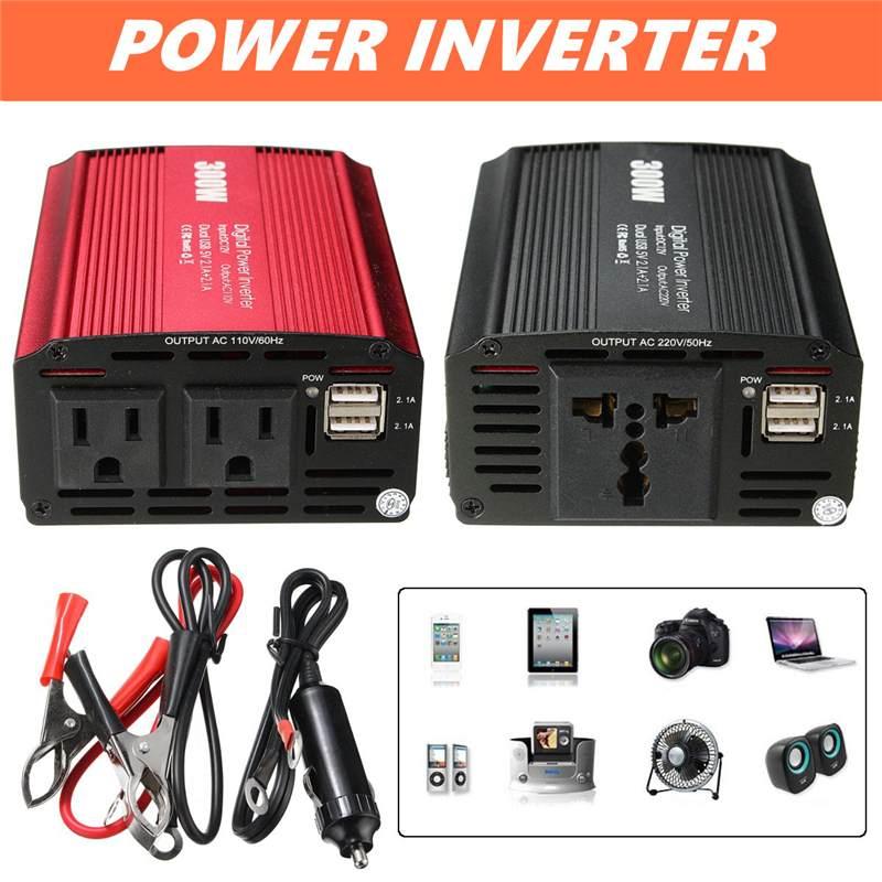 300W Мощность инвертор 12 V дo AC 110/220 вольт с 2 портами (стандарт макс 600 Вт модифицированный ЖК монитор Синусоидальная волна цифровой автомобиль
