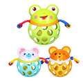 Insured Quality Cartoon Animal Shape Hand Ball Rattle With Finger Holes and Handles For 3M+ Babies