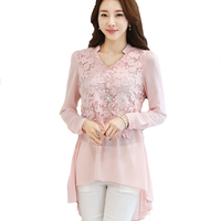 New Arrival 2017 Spring Autumn Ladies Fashion Elegant Spliced Chiffon Blouses Flower Hollow Out Lace Long