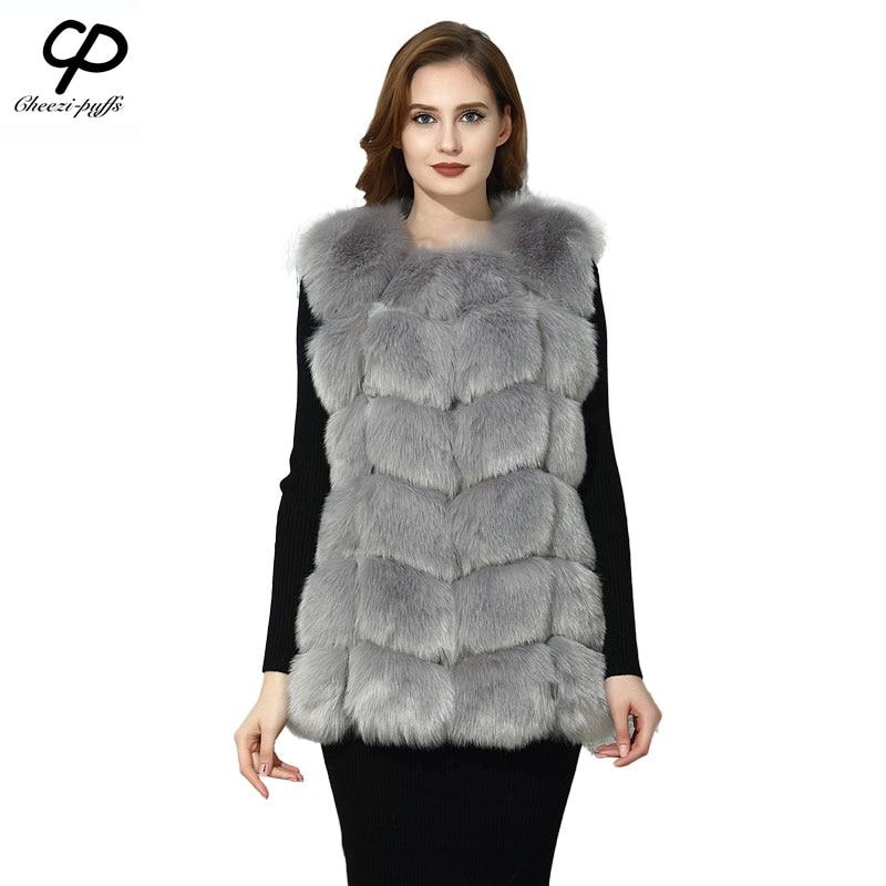 CP Brand Faux Fur Vest Winter Warm Long Women Faux Fox Fur ...