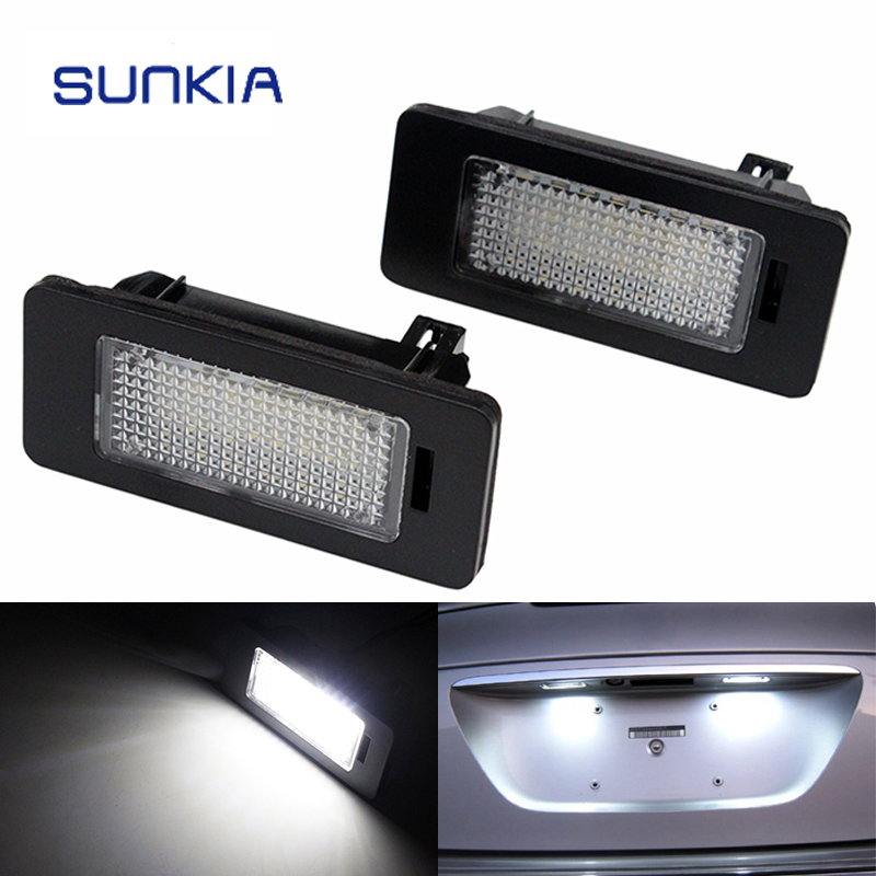 SUNKIA 2Pcs/Set LED License Plate Light for BMW E39 E60 E61 E70 E82 E90 E92 24SMD Error Free Bright White Color Hot Selling 2x e marked obc error free 24 led white license number plate light lamp for bmw e81 e82 e90 e91 e92 e93 e60 e61 e39 x1 e84