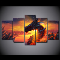 Abstract Dragon Fire Game 5pcs Sets Full Diamond Painting Cross Stitch Wall Stickers Diamond Mosaic For