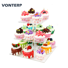 VONTERP 3 tier square acrylic cupcake stand Clear Acrylic Cupcake Stand party Display Tier square(4 between 2 layer)