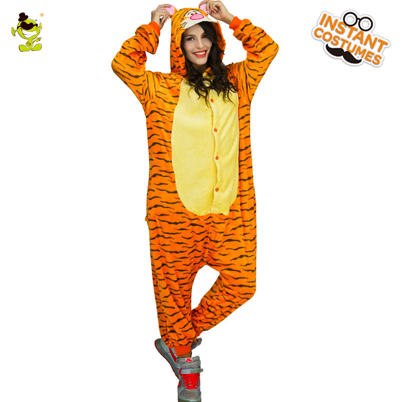 High Quality Tiger Pajama Woman Cute Pajamas Costumes Carnival Party Adult Hooded Dress-up Funny Animal Sleepwear for Women
