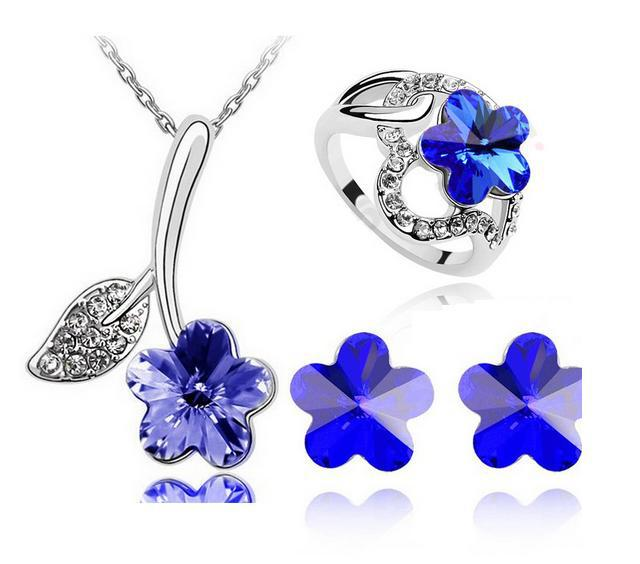 New Crystal Plum Blossom Beautiful Flowers Earrings Necklaces Rings Three-Piece Jewelry Sets Gifts CS103B13 ABC