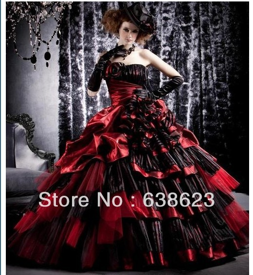 Aq033 Free Shipping 2016 Western Style Red And Black Quinceanera