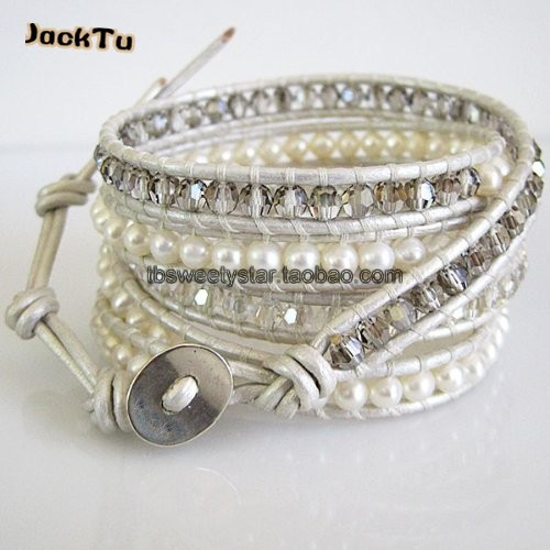 2017 Free Shipping fresh water pearl with crystal handmade pearl leather wrap bracelet
