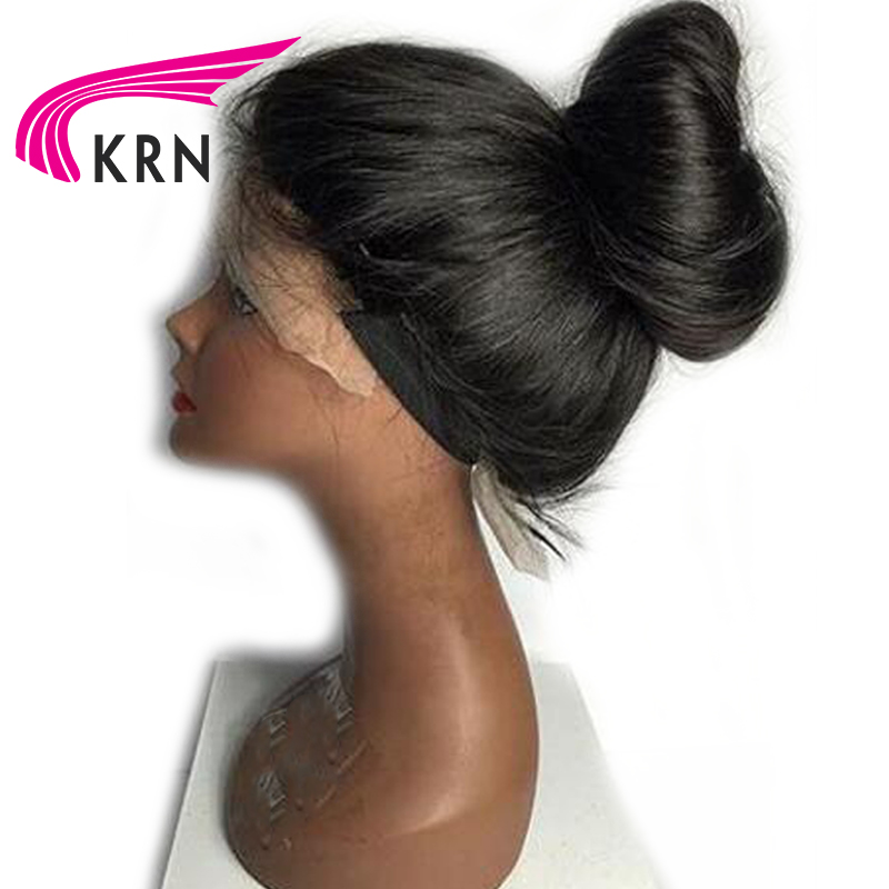 KRN Hair Human Hair Full Lace Wigs Pre Plucked Natural Hairline With Baby Hair Straight Brazilian Remy Hair Wigs Bleached Knots