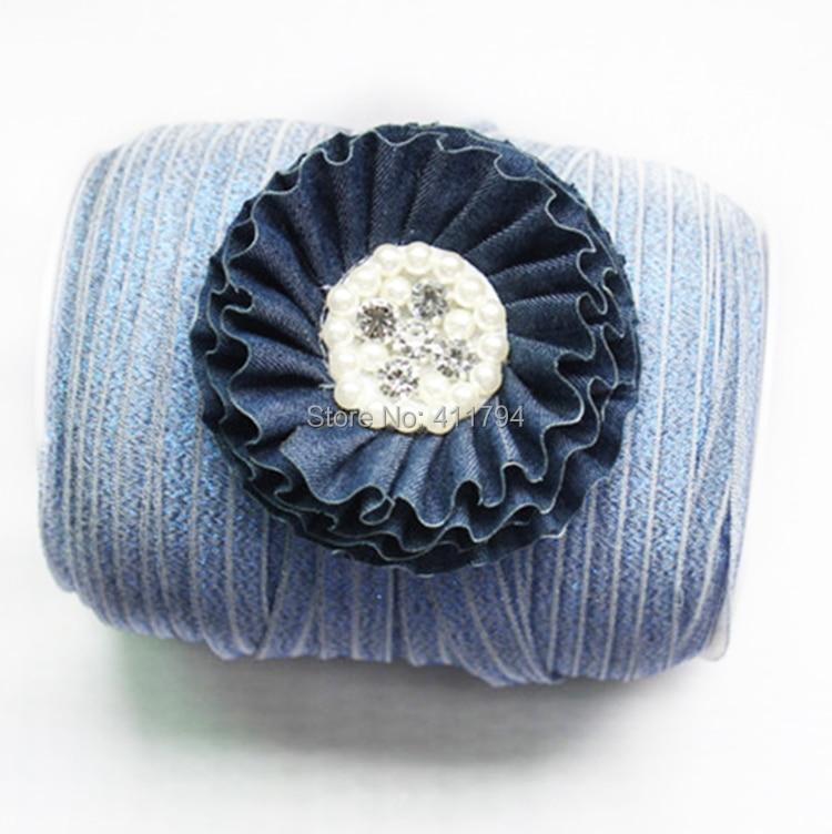 """5/"""" эластичный джинсовый 100 ярдов+ 35 шт горный хрусталь деним потертые цветы аксессуары для волос"""