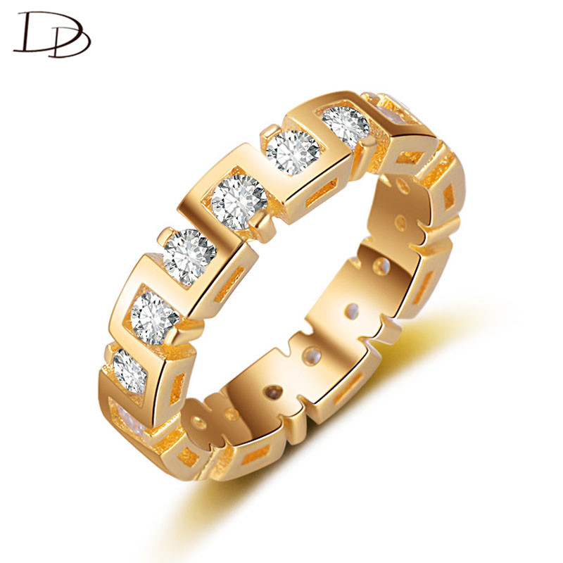 49763463de14 Color oro anillo redondo grande para las mujeres brillo cristal moda joyería  vintage partido anillos femeninos bijoux anillos DD247