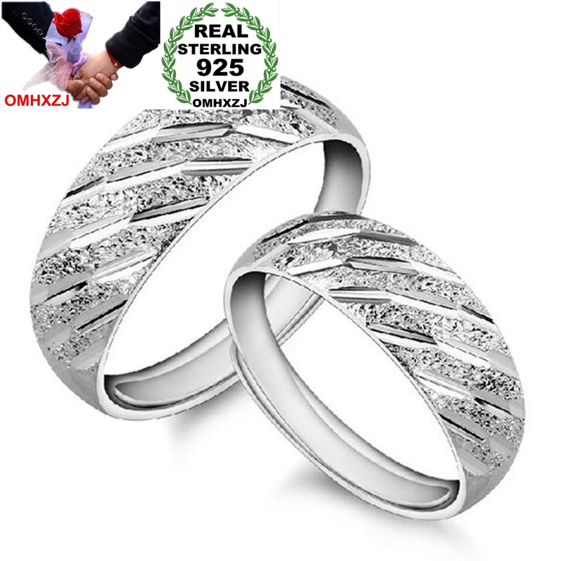 OMHXZJ Wholesale Fashion Simple Meteor Shower Lovers Couple 925 Sterling Silver open adjust female for Woman Man Ring Gift RG25