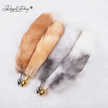 DAVYDAISY Silvery Golden Metal Anal Plug Real Fox Tail Butt Plug Stainless Steel Women Adult