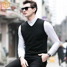 MACROSEA мужской Однотонный свитер с v-образным вырезом, жилет из чистой шерсти, высокое качество, Мужская официальная одежда, мужской деловой пуловер, свитер