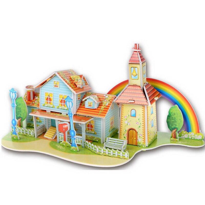 1 шт. мультфильм замки 3D DIY головоломки мудрость детские развивающие игрушки Строительство головоломка для детей