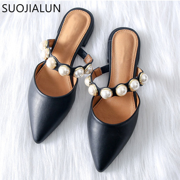 SUOJIALUN 2018 Women Brand Slippers Flat Women Casual Shoes Slip On Mules Slides  Pearl Bead Pointed Toe Low Heel Shoes Sandals