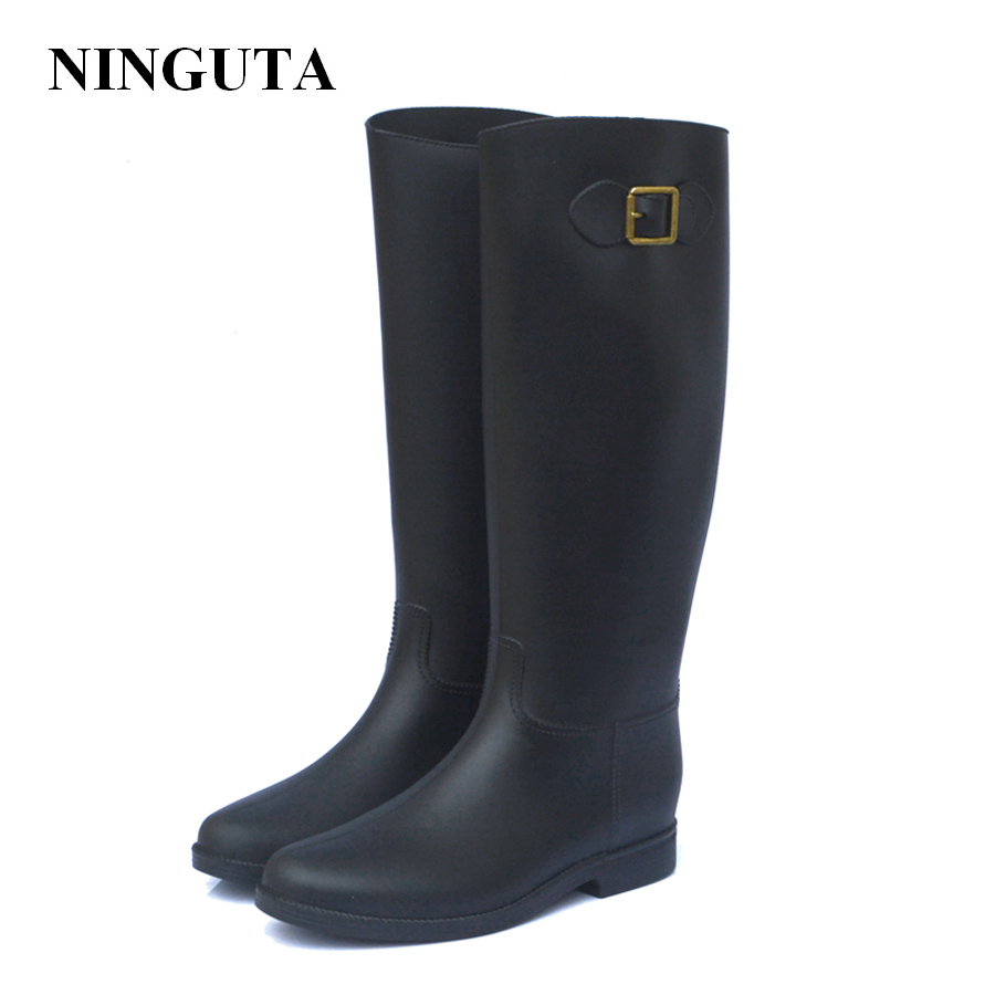 Buy Fashion Pvc Women Rain Boots Knee High Womens Boots Shoes Woman Footwear