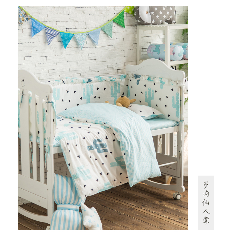 9pcs/set Baby Cot Bedding Set Cotton Newborn Kids Crib Bedding Sets Detachable Quilt Pillow Bumpers Sheet 7 Sizes Cot Bed Linen