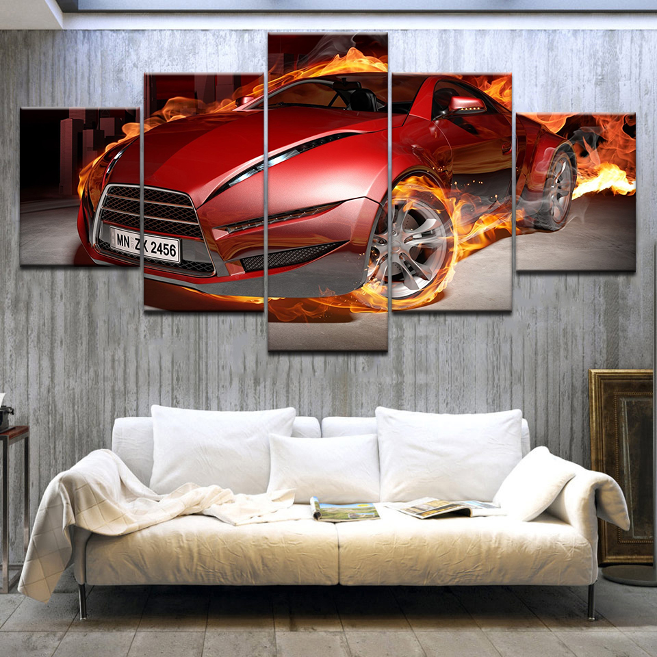 5Panel HD Printed Red Sports Car Racing wall posters Print On Canvas Art Painting For home living room decoration