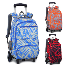 Fashion Kids font b Travel b font Trolley Backpack 6 wheels Girl s Trolley School bags