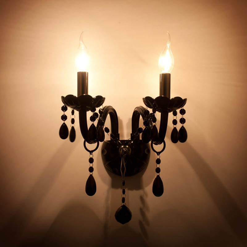 Dark Silver Wall Lights : ?1-2 pcs silver Led wall ? candle candle light Antique black crystal ? wall wall lamp sconce ...