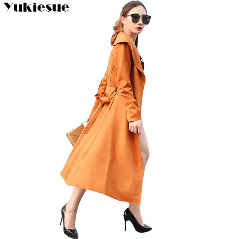 2018 New Autumn Suede   Trench   Coat Women Abrigo Mujer Long Elegant Outwear Female Overcoat Slim Suede Cardigan   Trench   Plus size